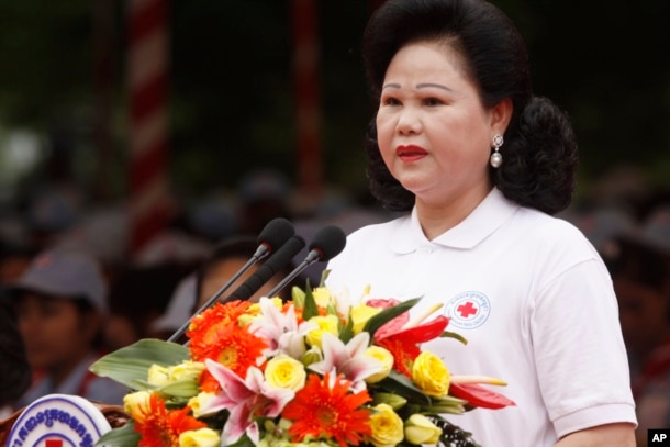 FILE - The Cambodian Red Cross, led by Prime Minister Hun Sen's wife, Bun Rany, has been criticized in the past for its close ties to the ruling Cambodian People's Party.