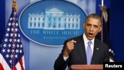 Presiden Barack Obama saat menyampaikan pernyataan terkait kontroversi seputar isu kesehatan Veteran di Gedung Putih, 21 Mei 2014 (Foto: dok).