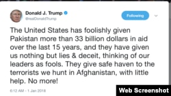 美国总统川普新年第一推威胁要停止给巴基斯坦援助 (推特截图)