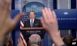 White House press secretary Sean Spicer speaks during the daily briefing at the White House in Washington, April 3, 2017.
