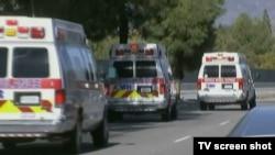 Ambulances at the scene of a shooting in San Bernardino, California Dec. 2, 2015.