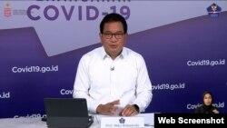 Juru Bicara Satgas Penanganan COVID-19 Prof Wiku Adisasmito dalam telekonferensi pers , di Graha BNPB , Jakarta, Kamis (12/11) mengatakan pemerintah buka peluang beli calon kandidat vaksin COVID-19 yang paling aman dan efektif (Foto: VOA)