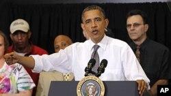 美國總統奧巴馬4月18日在俄亥俄州就推動經濟計劃發表演說。