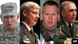 VOA가 인터뷰한 전직 주한미군사령관들. 왼쪽부터 제임스 서먼, 월터 샤프, 버웰 벨, 존 틸럴리 전 사령관.