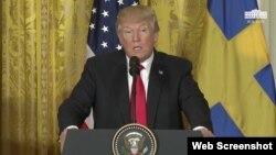 Tổng thống Donald Trump họp báo với Thủ tướng Thụy Điển Kjell Stefan Löfven tại Tòa Bạch Ốc ngày 6/3/2018