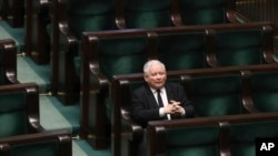 Jaroslaw Kaczynski, leader of the conservative ruling party Law and Justice, takes part in a parliamentary session in Warsaw, Poland, April 3, 2020.