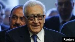 El mediador de la ONU para Siria, Lakhdar Brahimi, dio una rueda de prensa en Ginebra.
