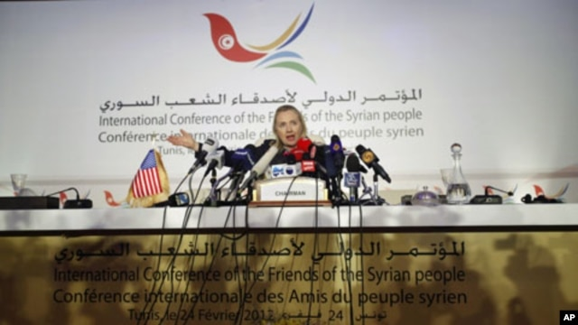 US Secretary of State Hillary Clinton speaks at a news conference following the Friends of Syria Conference in Tunis, Tunisia, February 24, 2012.