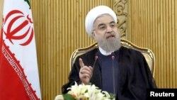 Tổng thống Iran Hassan Rouhani phát biểu ở Tehran sau khi trở về từ Liên Hiệp Quốc, ngày 29/9/2015.