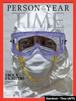 "Time magazine named as its ""Person of the Year 2014"" the medics treating the Ebola epidemic that has killed more than 6,300 people, paying tribute to their courage and mercy, Dec. 10, 2014."