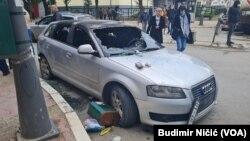 Demolirani automobil posle akcije kosovske policije u severnoj Mitrovici