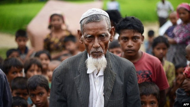 This picture taken on October 10, 2012 shows an elderly Muslim Rohingya man pictured outside his tent at the Dabang Internally Displaced Persons (IDP) camp, located on the outskirts of Sittwe, capital of Burma's western Rakhine state.