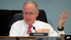FILE - Rep. Mike Conaway, R-Texas, speaks on Capitol Hill in Washington, Oct. 7, 2015. Conaway is leading the House probe into Russian interference in the 2016 presidential election.