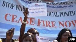Les travailleurs de l'Alliance de la société civile sud-soudanaise pour un cessez-le-feu à Juba, Soudan du Sud, 8 janvier 2014