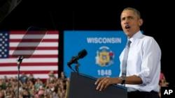 2일 바락 오바마 미국 대통령이 위스콘신주 라 크로세 시에서 연설하고 있다.