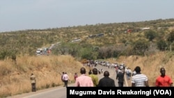 The traffic jam caused by the accident stretched for miles.