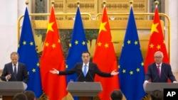 2018年7月16日中國總理李克強在歐盟發言資料照。
