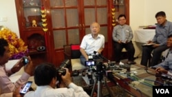 Prince Norodom Ranariddh talks to reporters in a press conference at his resident at Tonle Basak district in Phnom Penh, Cambodia, January 05, 2015