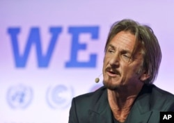 American actor Sean Penn, founder of J/P Haitian Relief Organization, speaks during the U.N. Change Conference near Paris, Dec. 5, 2015.