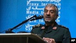 FILE - Mohammad Ali Jafari, the head of Iran's Islamic Revolutionary GuardCorps, delivers a speech in Tehran, Oct. 31, 2017.