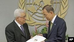 პალესტინის პრეზიდენტი, მაჰმუდ აბასი (მარცხნივ) და გაეროს გენერალური მდივანი, ბან კი მუნი