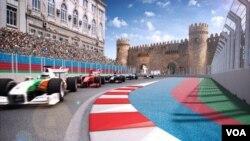 Đường đua Công thức 1 trên phố ở Azerbaijan. Hà Nội đã trở thành thành phố thứ 4 trên thế giới sẽ tổ chức cuộc đua F1 trên phố.