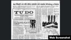 """Một trong những phiên bản cuối cùng của ký giả Nguyễn Đạm Phong, người sáng lập tờ Tự Do, chỉ trích """"Mặt trận Quốc gia Thống nhất Giải phóng Việt Nam"""" (gọi tắt là """"Mặt trận"""") do ông Hoàng Cơ Minh sáng lập. (Ảnh chụp từ trang web của propublica)."""