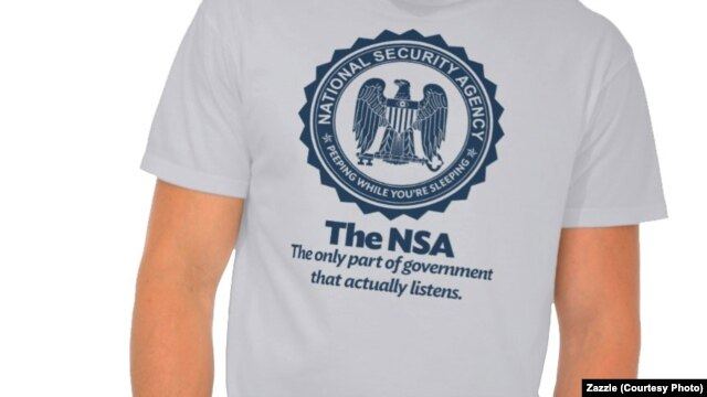 """A T-shirt designed by Dan McCall pokes fun at the NSA as """"the only part of the government that actually listens"""" referring to the NSA's alleged monitoring of millions of people."""