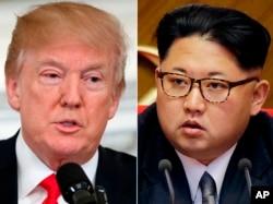 Tư liệu: Ảnh TT Mỹ Donald Trump, trái, tại Tòa Bạch Ốc. ngày 28/2/2018, và lãnh tụ Triều Tiên Kim Jong Un ở Bình Nhưỡng
