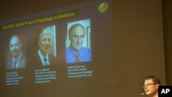 卡罗林斯卡研究所的汉斯.古斯塔夫.永格伦教授在斯德格尔摩宣布2011年诺贝尔医学奖得主