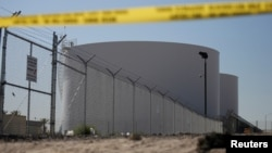 Two jet fuel storage tanks are pictured Oct. 5, 2017, near the Mandalay Bay Resort and Casino, from which Stephen Paddock shot at concertgoers along the Las Vegas Strip four days earlier, in Las Vegas, Nevada.