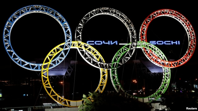The Olympic rings are seen in front of the airport of Sochi, the host city for the Sochi 2014 Winter Olympics, April 22, 2013.