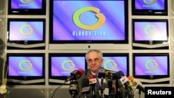 """Guillermo Zuloaga, presidente de Globovisión, la televisora acusada nuevamente por el gobierno venezolano de """"instigar al odio""""."""