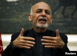 FILE - Afghanistan's President Ashraf Ghani speaks during a news conference in Kabul, Afghanistan, Dec. 31, 2015.