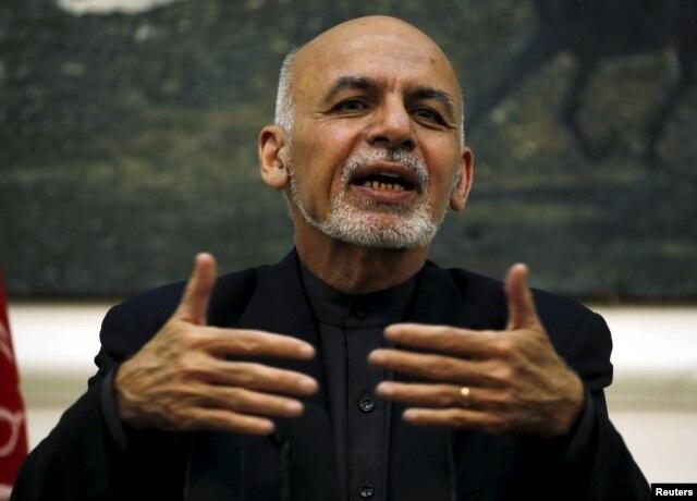 FILE - Afghanistan's President Ashraf Ghani speaks during a news conference in Kabul, Afghanistan, Dec. 31, 2015.