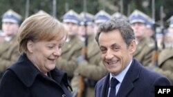 Канцлер Германии Ангела Меркель и президент Франции Николя Саркози. Варшава. Польша. 7 февраля 2011 года