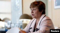 FILE - Kristalina Georgieva, World Bank CEO and European candidate to become the new head of the IMF, at the Bercy Finance Ministry in Paris, France, Aug. 23, 2019.