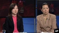 美国进出口银行经济师张蔓莉博士(右)和卡内基国际和平基金会亚洲项目经理王雅平