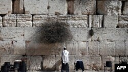 FILE - A Jewish man prays at the Western Wall, Judaism's most holy site, in Jerusalem's Old City. Israel objects to a UNESCO draft resolution it says ignores the religion's historic ties to such sites.