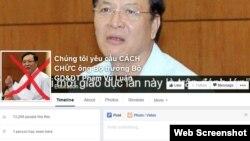 """Chỉ trong vài ngày đã có hơn chục nghìn người đã """"like"""" (thích) trang Facebook có tên gọi """"Chúng tôi yêu cầu cách chức ông Bộ trưởng Bộ Giáo dục & Đào tạo Phạm Vũ Luận""""."""
