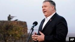 Ngoại trưởng Mike Pompeo phát biểu khi tới thăm Israel.
