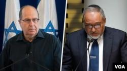 آویگدور لیبرمن (راست) و موشه یعلون وزرای دفاع فعلی و قبلی اسرائیل