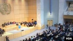 世界衛生大會會場(翻拍自世衛官網)