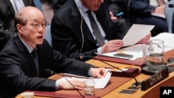 류제이 유엔 주재 중국대사가 지난 4월 안보리에서 열린 북한 관련 회의에서 발언하고 있다. (자료사진)