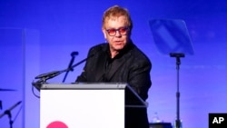 "Elton John speaks at the Elton John AIDS Foundation's 14th Annual ""An Enduring Vision"" Benefit at Cipriani Wall Street on Nov. 2, 2015, in New York."