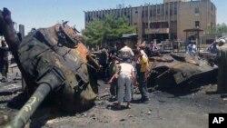 استان ادلب، تانک نیروهای دولتی به دست انقلابیون ویران شده است.