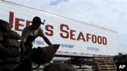 Seorang pekerja mengangkut karung-karung berisi tiram di Jeri's Seafood, Smith Point, Texas. Tiram Texas mengisi kekosongan akibat berkurangnya pasokan tiram dari Louisiana akibat tumpahan minyak.