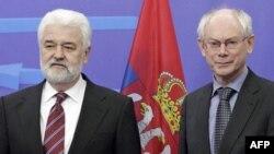 Srpski premijer Mirko Cvetković i predsednik Saveta Evrope, Herman van Rompuj razgovarali u Briselu pre nego što je srpska delegacija predala odgovore na upitnik EK, 31. januar 2011.