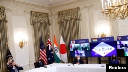 美國與日本、澳大利亞和印度領導人2021年3月12日舉行視訊四方峰會(路透社)
