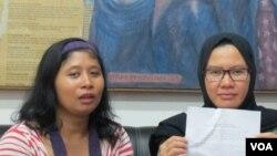 Koordinator Bidang Advokasi KontraS, Yati Andriyani (kanan) dan Staf KontraS Indah (kiri). (Foto: dok).